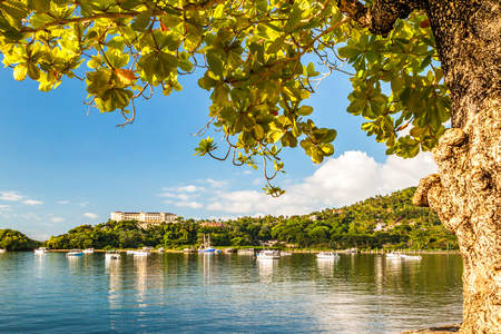 Samana Bay framed by a tropical tree in Dominican Republic on a sunny day. Banque d'images - 120564187