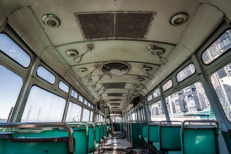 Interior of an old trolley abandoned in New York Banque d'images - 120564190