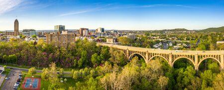Aerial panorama of Allentown, Pennsylvania skyline and Albertus L. Meyers Bridge (aka Eighth Street Bridge) on late sunny afternoon . Allentown is Pennsylvanias third most populous city.