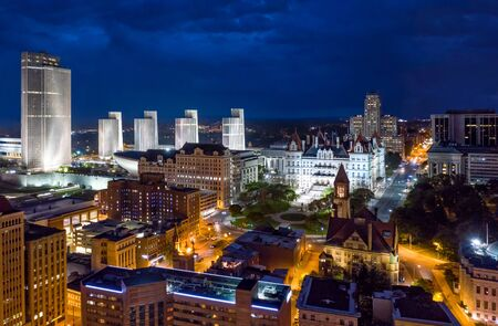 Aerial view of Albany, New York downtown at dusk. Albany is the capital city of the U.S. state of New York and the county seat of Albany County