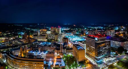 Aerial panorama of New Haven, Connecticut by night. New Have is the second-largest city in Connecticut after Bridgeport