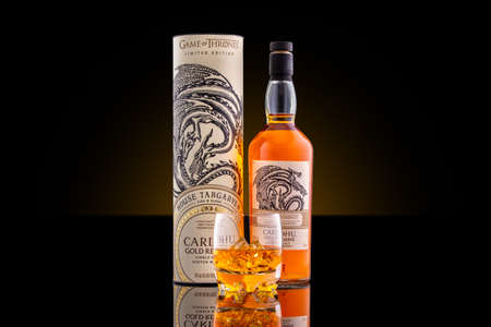 ROCKAWAY, NJ - FEBRUARY 29 , 2020: Bottle, box and glass of Cardhu, Gold Reserve, Game of Thrones edition, single malt whisky. Cardhu is a Speyside distillery in Scotland, founded in 1824. Editorial
