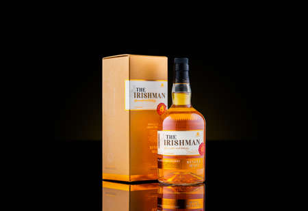 ROCKAWAY, NJ - FEBRUARY 29 , 2020: Bottle and box of The Irishman single malt whiskey. The Irishman single malt whiskey is a premium whiskey produced by Walsh Whiskey from Carlow Ireland. Editorial