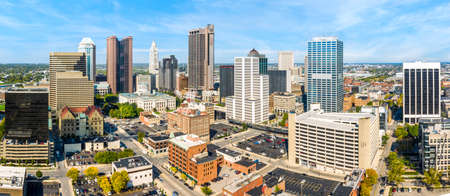 Columbus, Ohio aerial skyline panorama. Columbus is the state capital and the most populous city in the U.S. state of Ohio