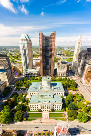 Vertical panorama of the Ohio State House and Columbus skyline. The Ohio Statehouse is the state capitol building and seat of government for the U.S. state of Ohio