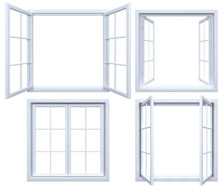 ventana abierta interior: Colección de marcos de ventanas aisladas Foto de archivo