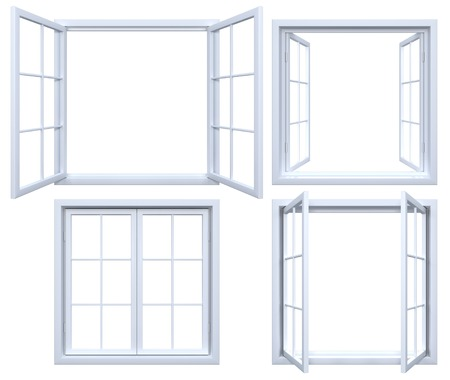 open windows: Collection of isolated window frames Stock Photo