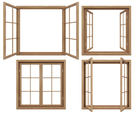 孤立した木造ウィンドウのコレクション 写真素材