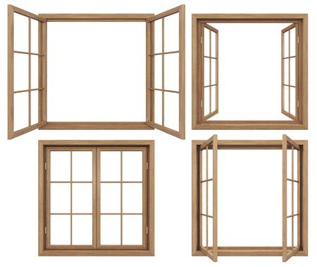 ventana abierta interior: Colección de aislados ventanas wodden Foto de archivo