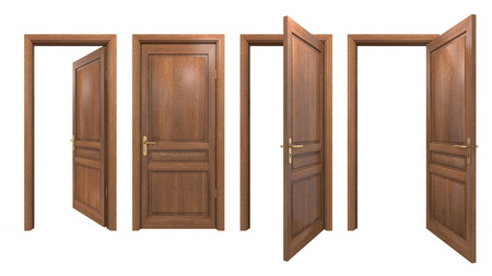 Collezione di porte in legno isolate Archivio Fotografico