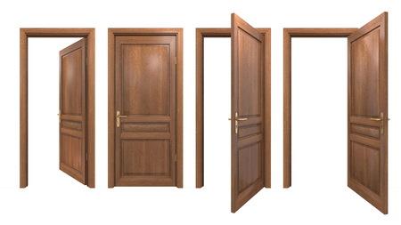 Verzameling van geïsoleerde houten deuren Stockfoto