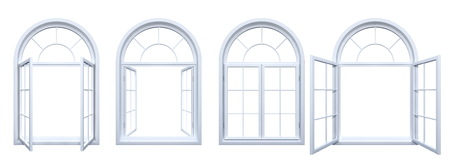 Collection of arched windows isolated on white Stock Photo