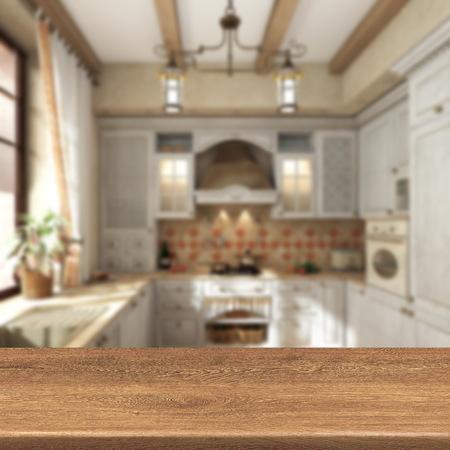 cuisine rétro, table en bois sur fond flou pour l'affichage produit montage