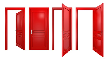 view to outside: Collection of isolated red doors