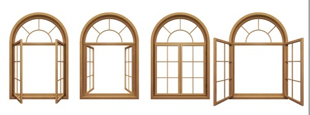 Collection de fenêtres isolées voûté en bois Banque d'images