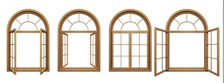 Verzameling van geïsoleerde houten boogramen Stockfoto