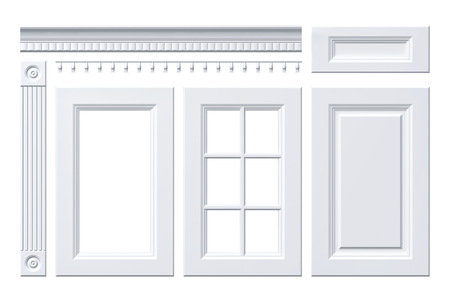cornice: Front door, drawer, column, cornice for kitchen cabinet isolated on white
