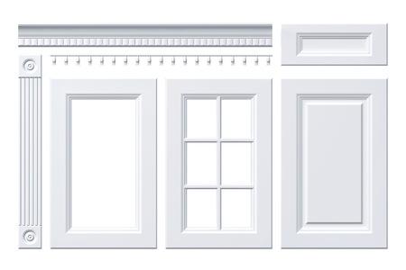 27d22737029a #57129148 - Puerta grande, cajón, columna, cornisa de armario de la cocina  aislado en blanco