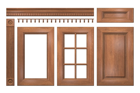 cornice: Front collection of isolated wooden doors, drawer, column, cornice for kitchen cabinet Stock Photo