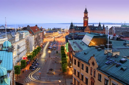 gloaming: Panorama of Helsingborg at twilight