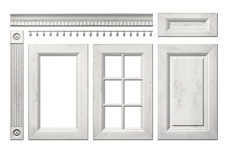 cornice: Front collection of old wooden door, drawer, column, cornice for kitchen cabinet isolated on white
