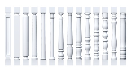 pilasters: Collection of white isolated columns, pilasters, balusters Stock Photo