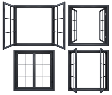 Collection of black window frames isolated on white Zdjęcie Seryjne