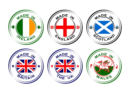 Collection of round labels Made in United Kingdom, Great Britain with flag, Wales with dragon, Scotland with thistle, England with rose, Ireland with shamrock Ilustracja