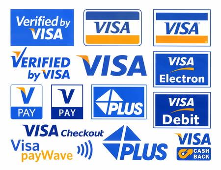 Verschiedene Logos des Zahlungssystems VISA, gedruckt auf weißem Papier