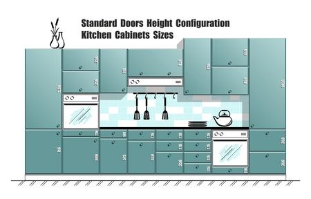Tavolo grafico con dimensioni standard delle porte, piani per mobili da cucina