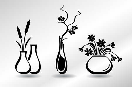 Collection of flat icons vases with flowers: orchid, snowdrops, bulrush