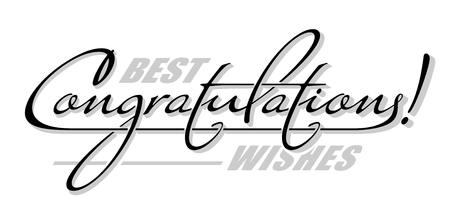 """Onderstrepen handgeschreven tekst """"Gefeliciteerd"""" met schaduw. Hand getrokken kalligrafie belettering"""
