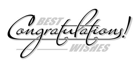 """Sottolinea il testo """"Congratulazioni"""" con l'ombra. Lettera di calligrafia disegnata a mano Vettoriali"""