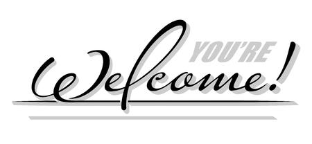 """Unterstrich handschriftlicher Text """"Willkommen"""" mit Schatten. Hand gezeichnete Kalligraphie Beschriftung Vektorgrafik"""