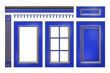closet door: Blue with gold door, drawer, column, cornice for kitchen cabinet isolated on white