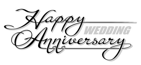 Underscore handwritten text Happy Wedding Anniversary with shadow. Hand drawn calligraphy lettering