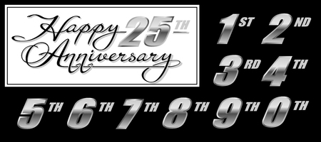 Set of handwritten calligraphy lettering Happy Anniversary with silver numbers Illustration
