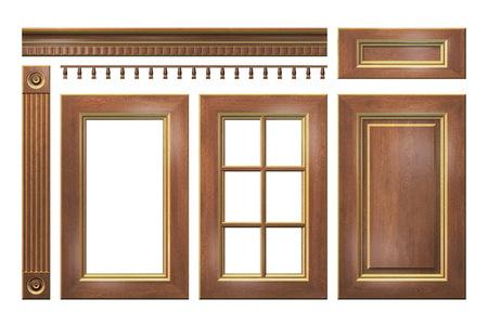 closet door: Wooden with gold door, drawer, column, cornice for kitchen Stock Photo