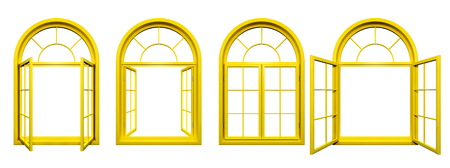 Collection of yellow arched windows isolated on white Stok Fotoğraf
