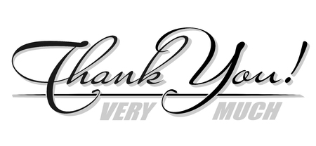 Handwritten isolated text Thank You with shadow. Hand drawn calligraphy lettering