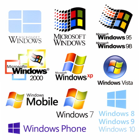 Evolution of Microsoft Windows logotypes, printed on white paper