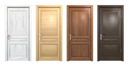 Sammlung von verschiedenen Holztüren isoliert auf weiß