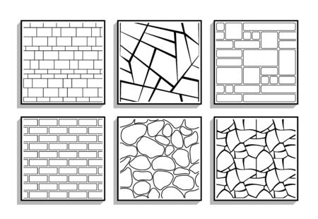 Conjunto de texturas de piedra sin fisuras. Patrones en blanco y negro de material de ladrillo.