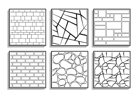 Set of seamless stone textures. Black and white patterns of brick material