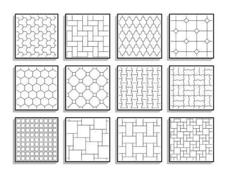 Conjunto de texturas de pavimento sin costuras. Baldosas blancas y negras Ilustración de vector