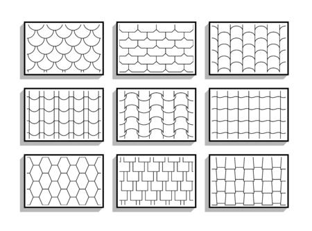 Ensemble de textures de tuiles de toit sans couture. Motifs graphiques en noir et blanc de matériaux architecturaux