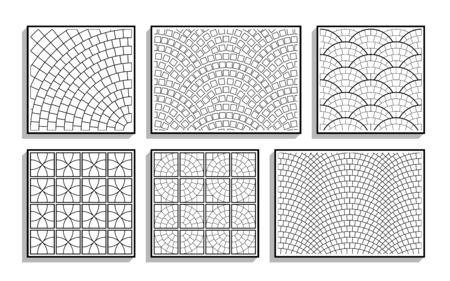 Conjunto de texturas de pavimento redondo transparente. Patrones en blanco y negro de material de piedra
