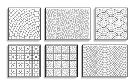 Set di texture di pavimentazione rotonda senza soluzione di continuità. Motivi in bianco e nero di materiale lapideo