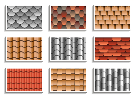 Set of seamless roof tiles textures. 3D patterns of rooftop materials