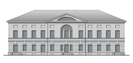 Fachada clásica en escala de grises del edificio antiguo. Casa histórica en estilo lineal Ilustración de vector